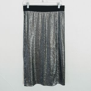 Free People Silver Sequined Skirt